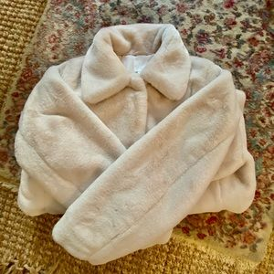 H&M White Faux Fur Collared Jacket - Size 14